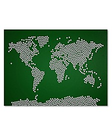 "Michael Tompsett 'Soccer Balls World Map' Canvas Art - 14"" x 19"""