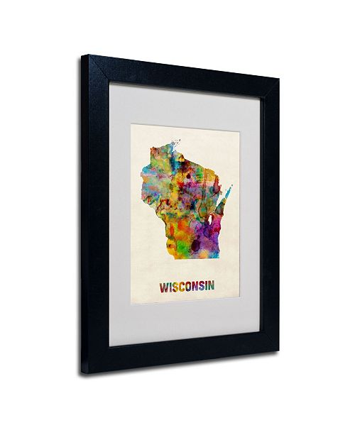 "Trademark Global Michael Tompsett 'Wisconsin Map' Matted Framed Art - 14"" x 11"""