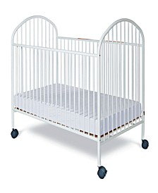 "Classico Full Size Steel Non-Folding Crib, Slatted Ends, 2"" Casters"