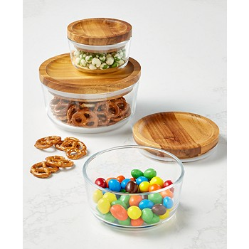 6-Piece Pyrex Storage Set With Wood Lids