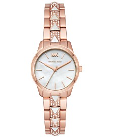 Michael Kors Women's Petite Runway Mercer Rose Gold-Tone Stainless Steel Bracelet Watch 28mm