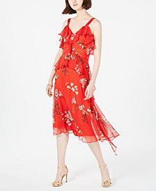 Taylor Floral-Print Ruffled Midi Dress