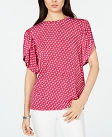 MICHAEL Michael Kors Sliced-Dot Printed Petal-Sleeve T-Shirt, in Regular and Petite