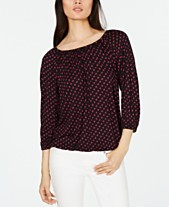 e0f8f990f165ce MICHAEL Michael Kors Sliced-Dot Printed Peasant Top, Regular & Petite