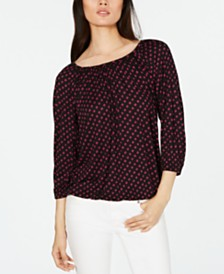 Michael Michael Kors Sliced-Dot Printed Peasant Top, Regular & Petite