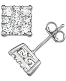 Diamond Square Cluster Stud Earrings (1 ct. t.w.) in 14k White Gold