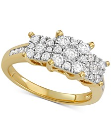 Diamond Princess Three Stone Engagement Ring (3/4 ct. t.w.) in 14k Gold, White Gold or Rose Gold