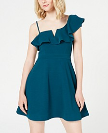 Juniors' Ruffled One-Shoulder Fit & Flare Dress