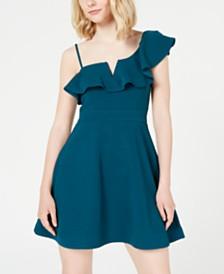 Teeze Me Juniors' Ruffled One-Shoulder Fit & Flare Dress