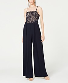 Teeze Me Juniors' Lace-Top Jumpsuit