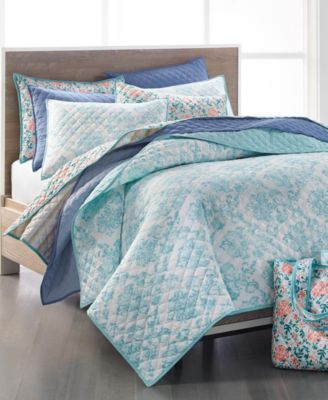 Spring Floral 4-Pc. Full/Queen Quilt and Tote Bag Set, Created for Macy's