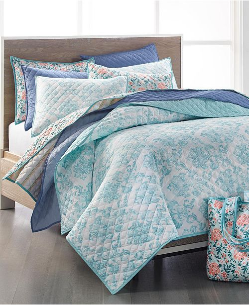 Martha Stewart Collection 4-Pc. Quilt and Tote Bag Sets, Created for Macy's