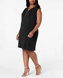 Plus Size Sleeveless Zip-Neck Dress, Created For Macy's