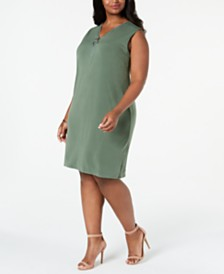 JM Collection Plus Size Sleeveless Zip-Neck Dress, Created For Macy's