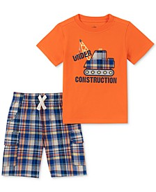 Baby Boys 2-Pc. T-Shirt & Plaid Shorts Set