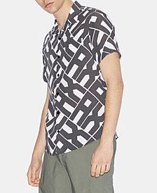 A|X Armani Exchange Men's Slim-Fit Allover Pop-Logo Short Sleeve Button Down Shirt