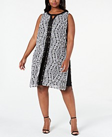Plus Size Printed Studded Dress, Created For Macy's