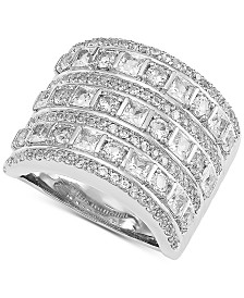 Arabella Swarovski Zirconia Wide Statement Ring in Sterling Silver