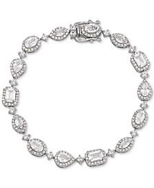 Swarovski Zirconia Halo Link Bracelet in Sterling Silver
