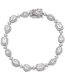 Arabella Swarovski Zirconia Halo Link Bracelet in Sterling Silver