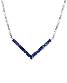 "Sapphire (1-3/8 ct. t.w.) 18"" Chevron Pendant Necklace in Sterling Silver (Also available in Certified Ruby and Emerald)"