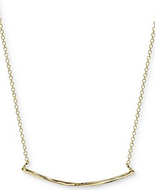 "Textured Curved Bar 18"" Pendant Necklace in Gold-Plated Sterling Silver"