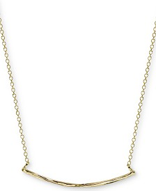 "Argento Vivo Textured Curved Bar 18"" Pendant Necklace in Gold-Plated Sterling Silver"