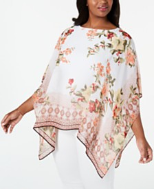 JM Collection Floral-Print Poncho, Created For Macy's