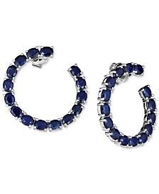 Black Sapphire Frontal Hoop Earrings (6 ct. t.w.) in Sterling Silver