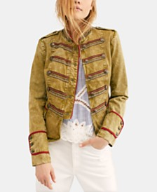 Free People Naomi Mandarin-Collar Button-Trim Jacket