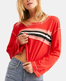Free People Ziggy Seamed Appliqué-Stripe Top