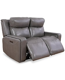 Saran 2-Pc. Leather Sectional Sofa with 2 Power Recliners