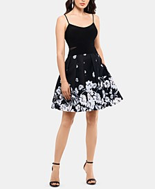 Printed-Skirt Fit & Flare Dress
