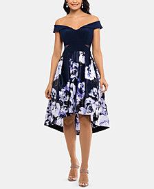XSCAPE Off-The-Shoulder Floral-Skirt Dress