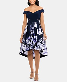 XSCAPE Petite Off-The-Shoulder High-Low Dress, Created for Macy's