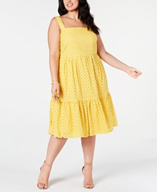 Trendy Plus Size Cotton Eyelet A-Line Dress