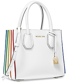 MICHAEL Michael Kors Mercer Rainbow-Trim Leather Crossbody Tote