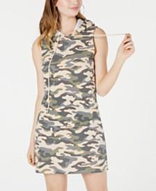 Material Girl Juniors' Printed Sweatshirt Hoodie Dress, Created for Macy's