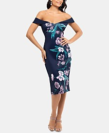 XSCAPE Off-The-Shoulder Printed Sheath Dress