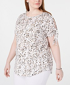 Trendy Plus Size Printed Split-Sleeve Top