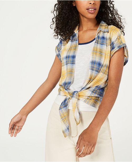 Crave Fame Juniors' Plaid Shirt & Tank Top