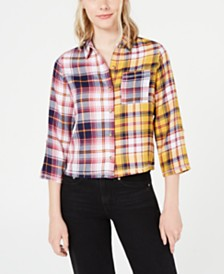 Crave Fame Juniors' Two-Tone Button-Front Flannel Shirt