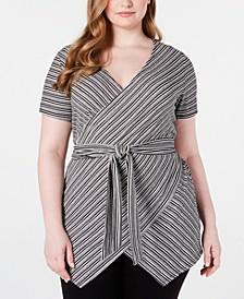 Trendy Plus Size Striped Surplice Top