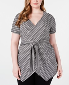 Seven7 Jeans Trendy Plus Size Striped Surplice Top