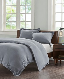 Cotton Jersey Knit Full/Queen 3 Piece Heathered Duvet Cover Mini Set