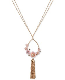 "lonna & lilly Gold-Tone Crystal Flower & Chain Tassel 36"" Pendant Necklace"