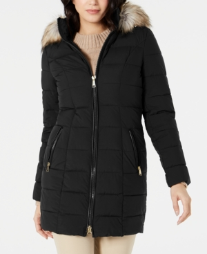 Laundry By Shelli Segal Coats HOODED FAUX-FUR-TRIM PUFFER COAT