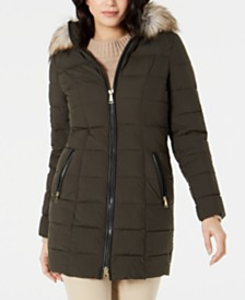 Laundry By Shelli Segal Hooded Faux-Fur-Trim Puffer Coat