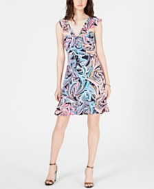 Trina Trina Turk Ruffled Cap-Sleeve Dress
