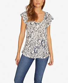 Ruby Printed Scoop-Neck Linen T-Shirt